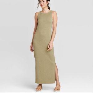 A New Day green ribbed maxi summer tank dress M